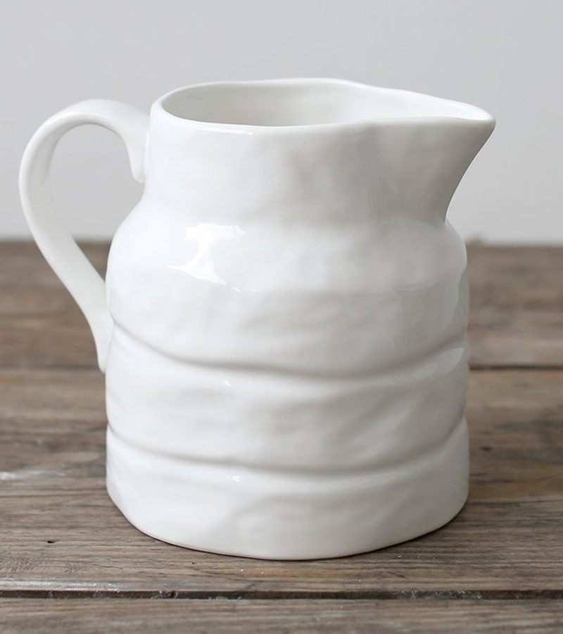 White Stoneware Pitcher